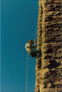 Tom Kline, ascending the Smoke Rise Tower in 1975