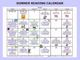 Kinnelon Summer Reading Calendar 2009