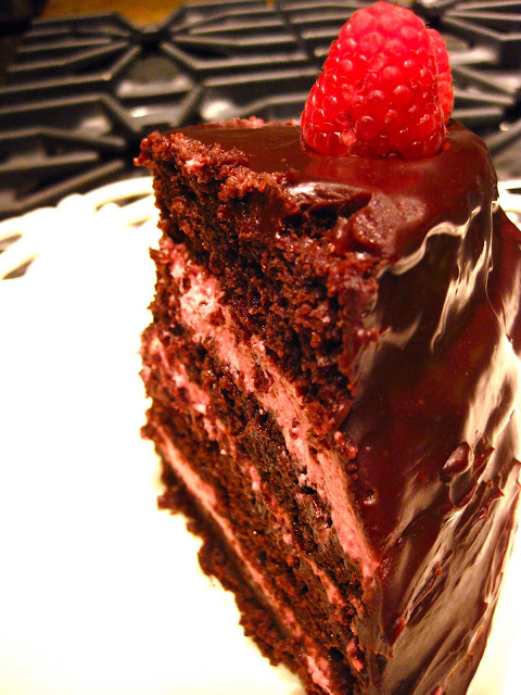 slice of chocolate raspberry mousse cake recipe