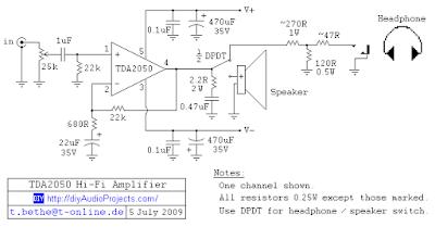 tda2050 amp. devre şeması