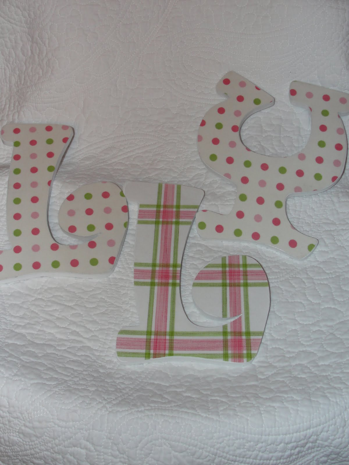 letters covered in wool I saw a picture of fabric-covered letters on pinterest one day and thought that would be fun i even bought the letters clear back in decemberand they have been sitting on the shelf in my craft closet since then.