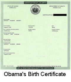 barack hussein obama birth certificate