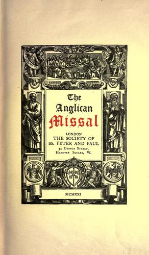 The Catholic Knight: The Anglican Missal