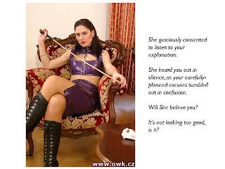 femdom caption cane boots punishment