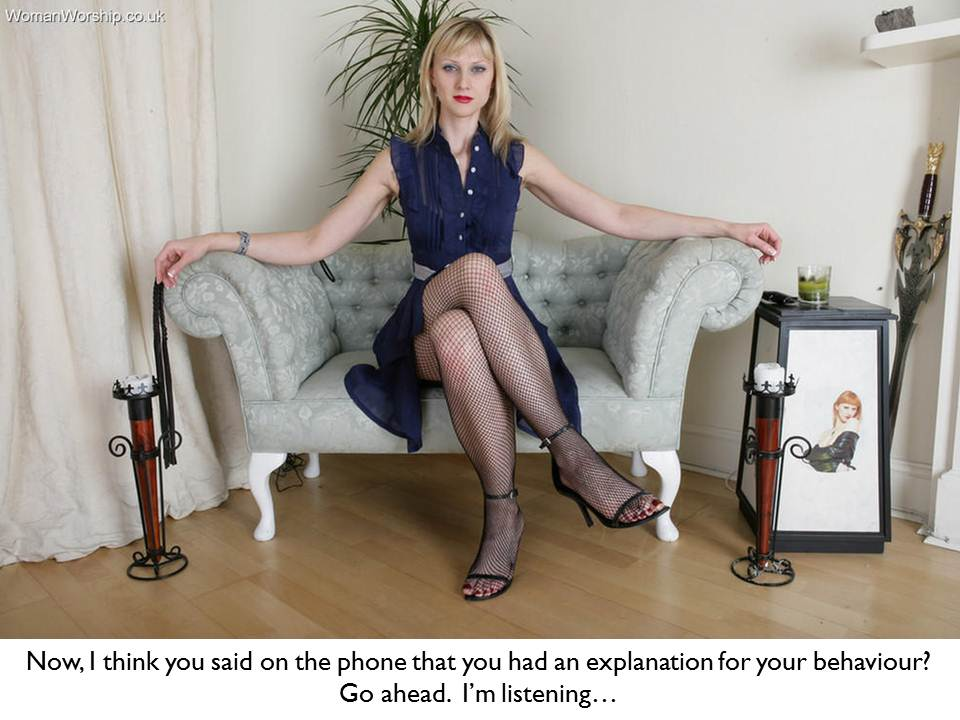 femdom caption blonde dominant wife sitting waiting for explanation ...