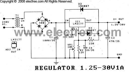 fuente de voltaje regulable de 1 25 a 30v con lm317t