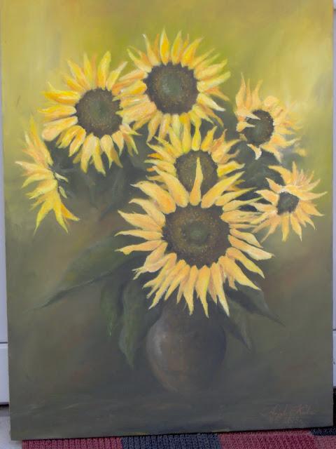 Słoneczniki, kopia obrazu olejnego, malowanie reprodukcji znanych dzieł malarscjich, malowanie olej na zmówienie, słoneczniki reprodukcja