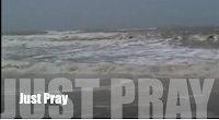 Gulf waters with Just Pray superimposed