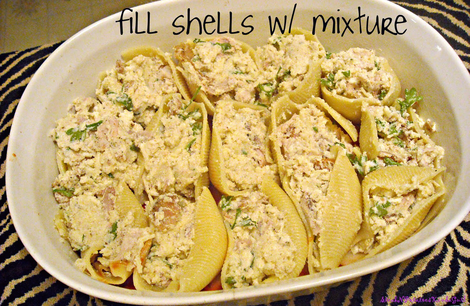 ... stuffed pasta shells. And don't forget to top with the remaining