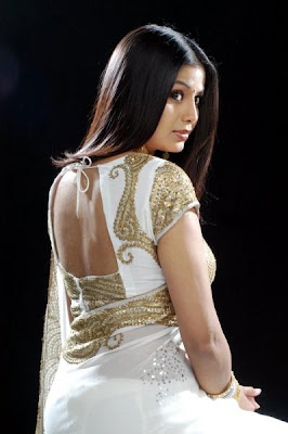 Sangeetha Back pose in white saree