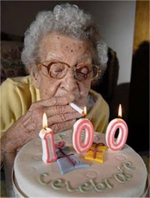 grandmother smoking birthday cake