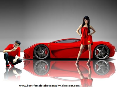 beautiful model, model ferarri, ferarri car show