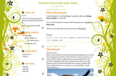 Vinery Blogger template