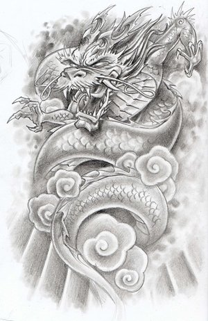 Japanese Dragon Design Tattoo