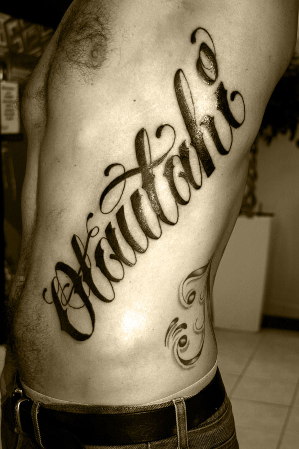 On tattoo lettersold english lettering neck tattoos
