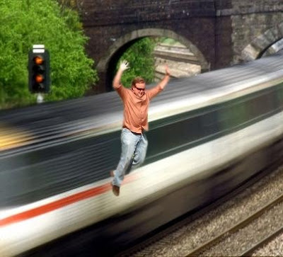 Jump off a speeding train