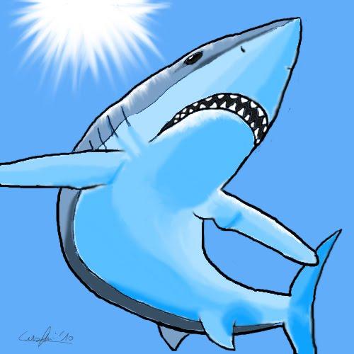 Follie della mente di un aspirante scrittore lo squalo bianco for Disegno squalo