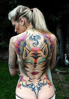 Tribal Cat Tattoo With Back Body Girl