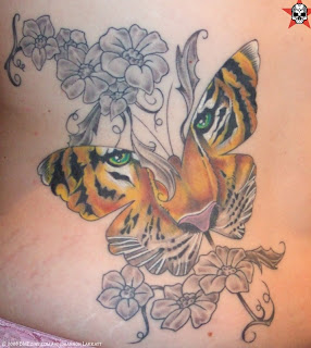 Butterfly Tattoo Design and Flower Tattoo