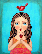 Girl with Rose and Bird