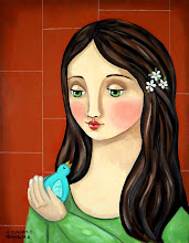 Girl with blue bird