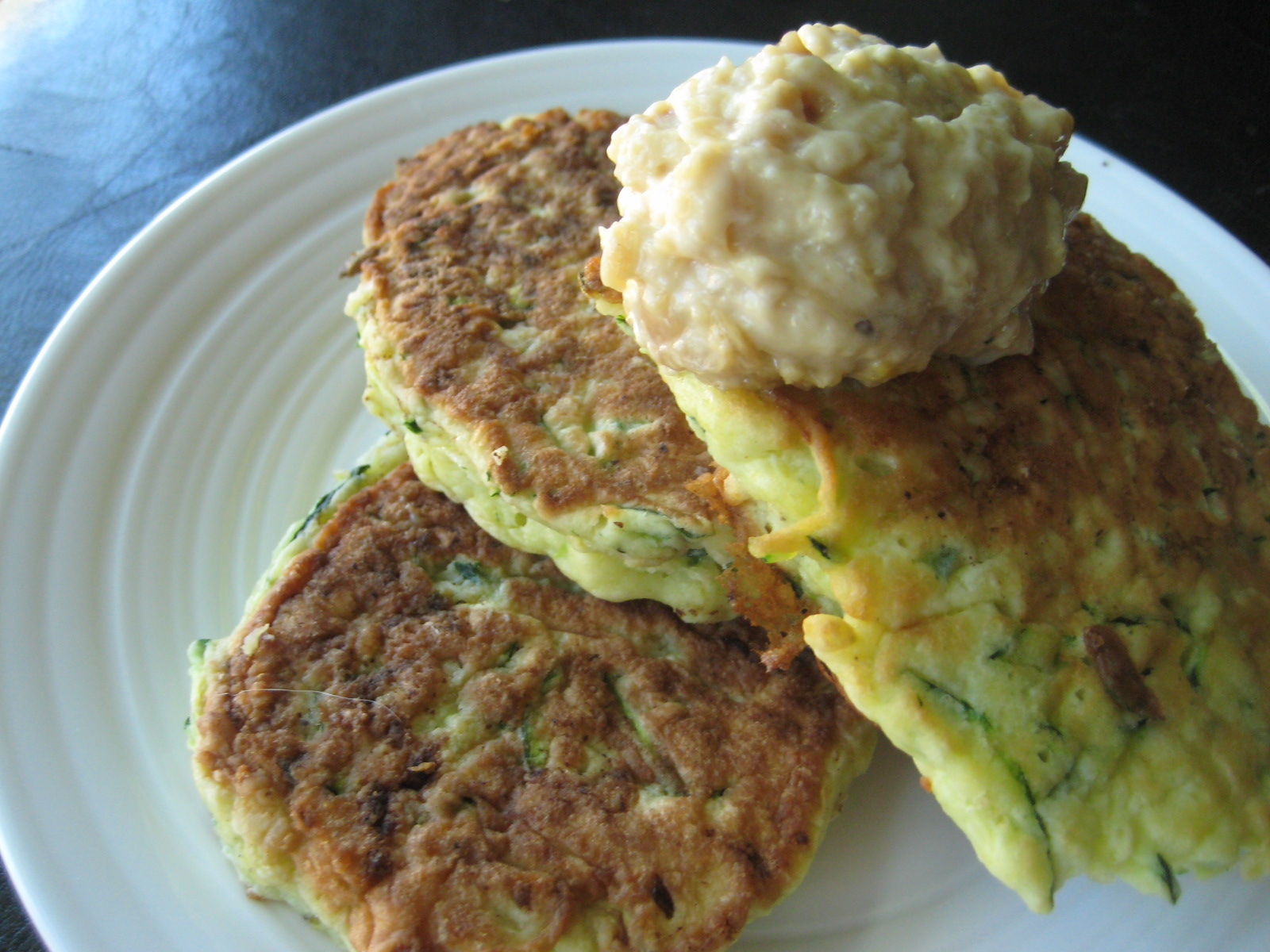 Being Suzy Homemaker: Zucchini Pancakes with Roasted Garlic Mayonnaise