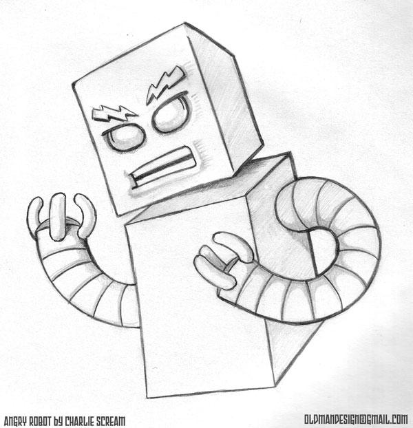 oldmandesignblog drinkin n drawin leads to angry robots