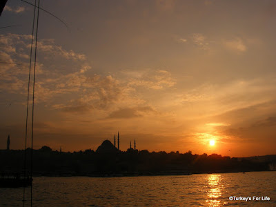 Süleymaniye Mosque silhouetted across the Golden Horn, Istanbul