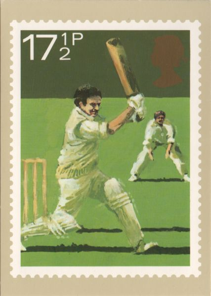 PHQ postcard showing two cricket players near the wicket