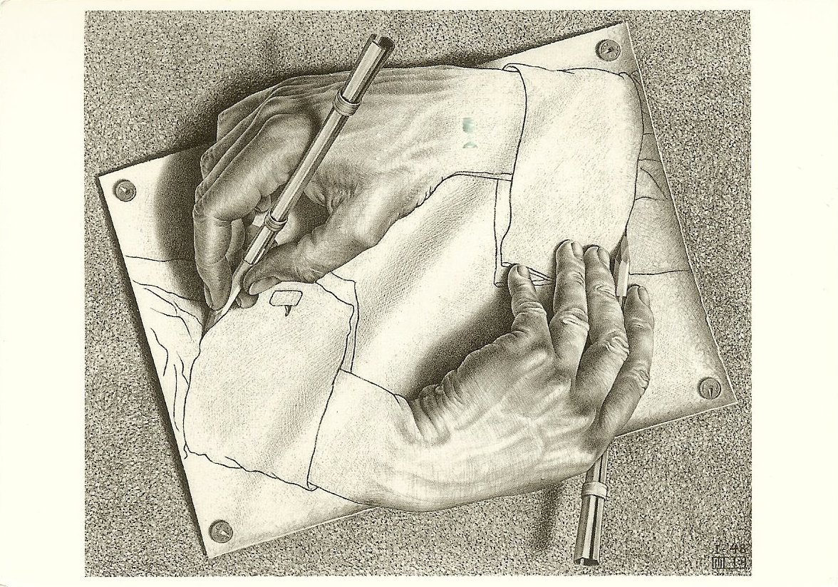 postcard of MC Escher's Drawing Hands