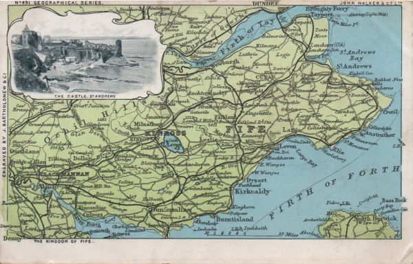 vintage map of Fife in Scotland