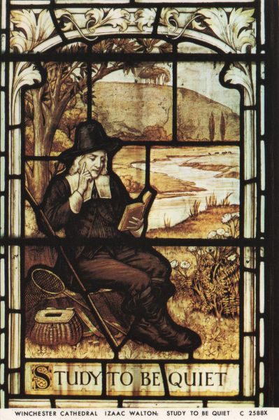 stained glass window depicting Izaak Walton reading