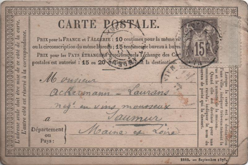 old postcard addressed to Ackermann, Saumur