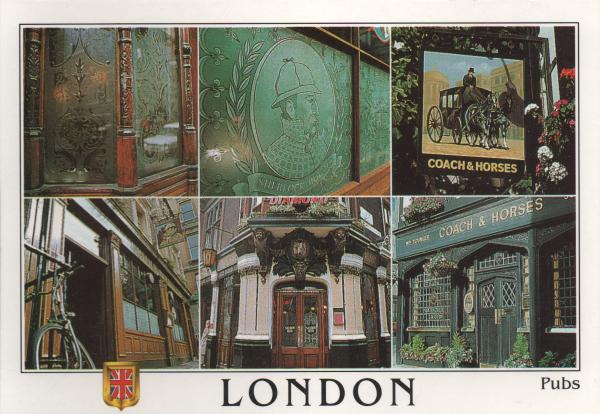 postcard showing pub and pub signs in London
