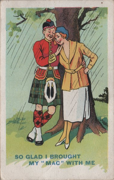 boy in kilt and girl sheltering from rain caption : I'm glad I brought my mac with me