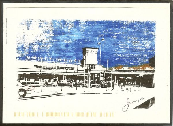 self made postcard of Manly Wharf Sydney