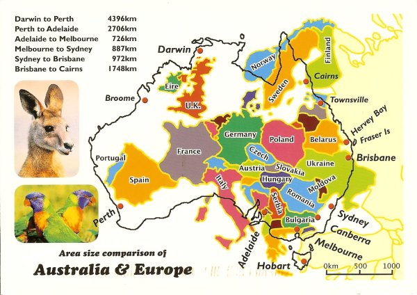 outline map of australia superimposed on map of europe
