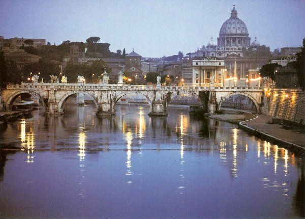 St Peters in Rome seen from a bridge over the Tiber