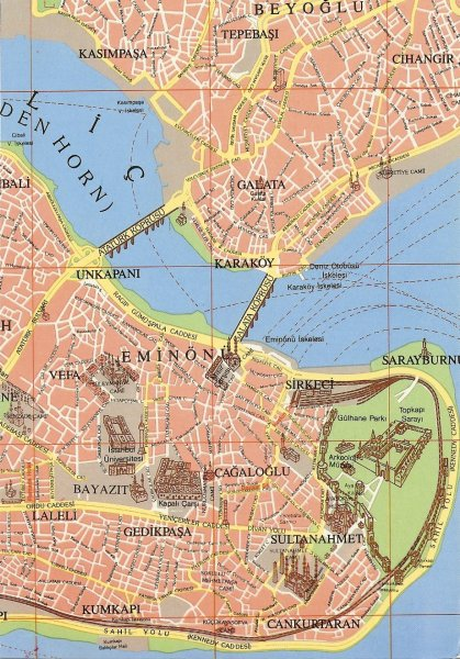 postcard map of Istanbul