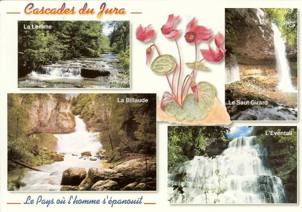 multiview postcard of four waterfalls in France