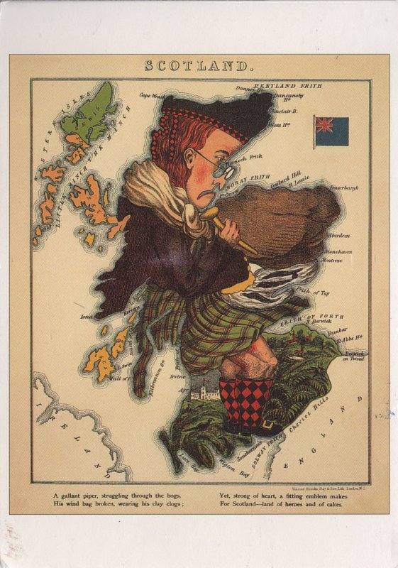 map of Scotland made to look like a piper in a kilt