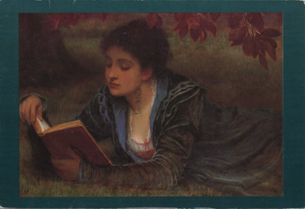 woman lying reading