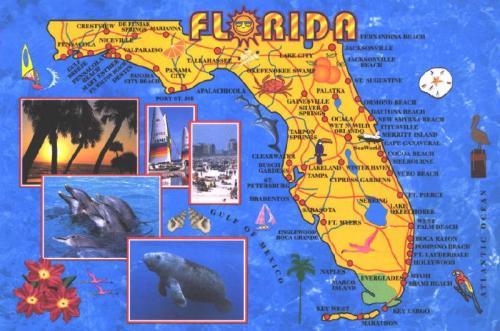 cartoon map of Florida