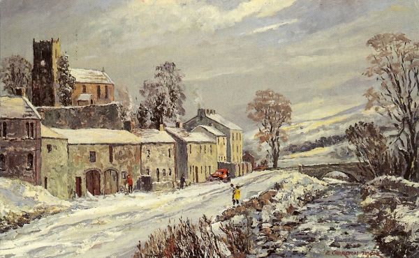 painting of village in the snow