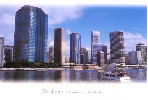 waterfront in Brisbane, high rise buildings and river