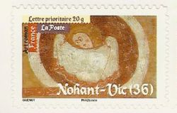 stamp showing fresco in church at Nohant Vic