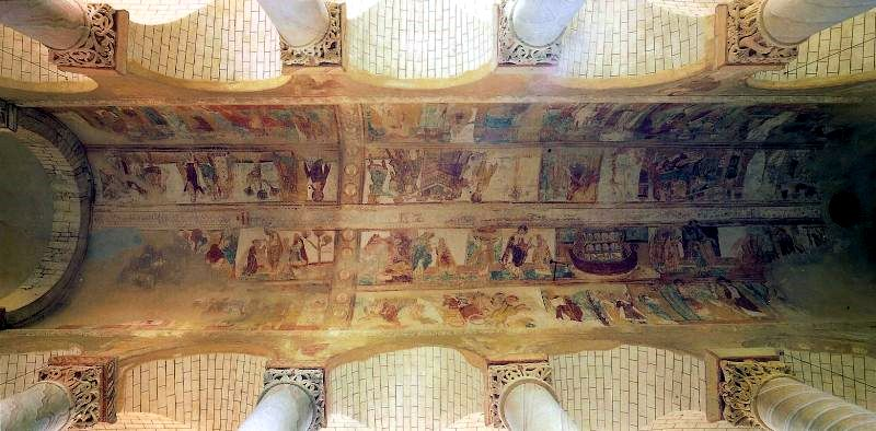 frescos on nave ceiling in St Savin sur Gartempe