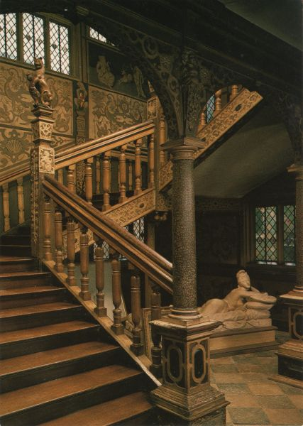 ornately painted and carved staircase