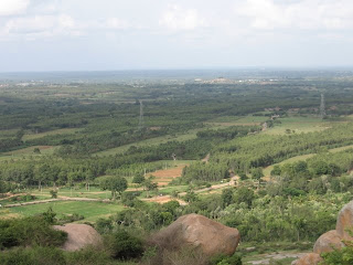 Birds view from Shivagange hill, lush greenery