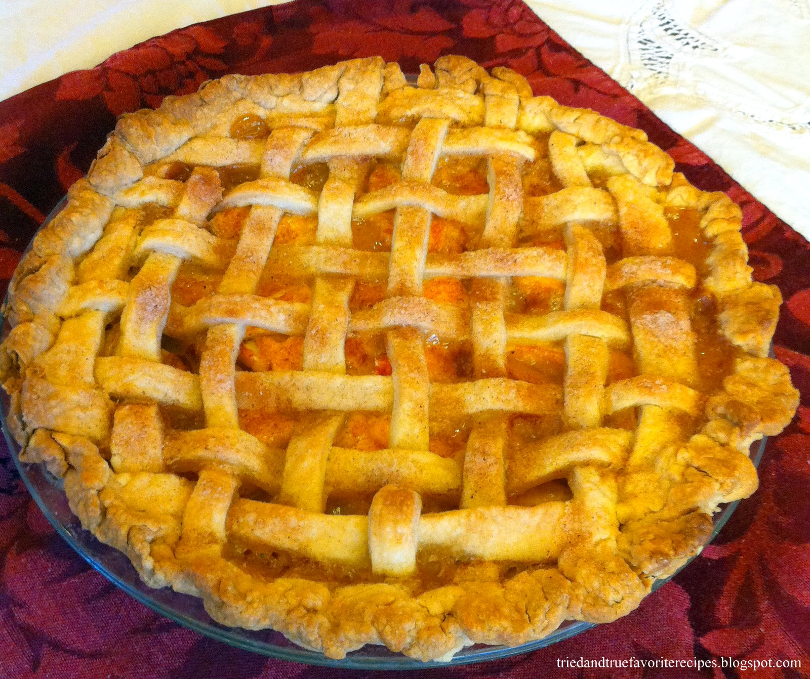 Tried and True Favorite Recipes: Peach Pie with lattice top crust